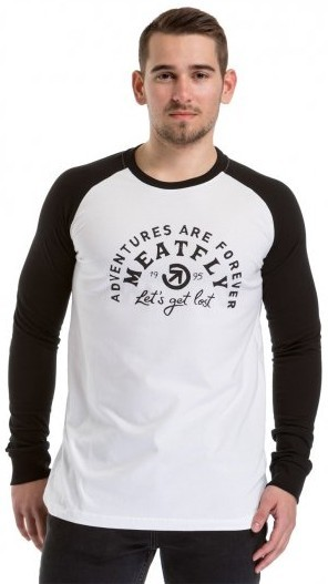 Meatfly Pánske tričko Rioter Long Sleeve C-White,Black M