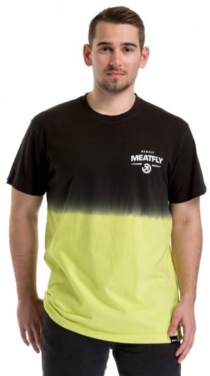 Meatfly Pánske tričko Spill 2 T-shirt A-Safety Yellow, Black M