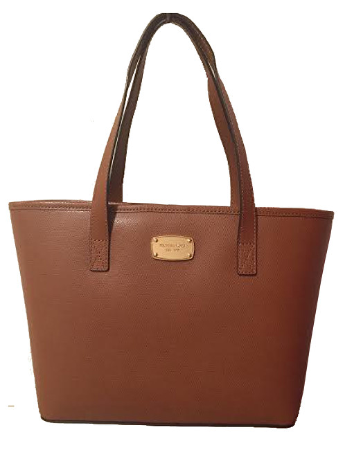 Michael Kors Elegantná kožená business kabelka Jet Set Saffiano Leather Tote Brown