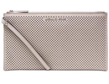 Michael Kors Elegantné puzdro Jet Set Travel Large Zip Clutch Cement