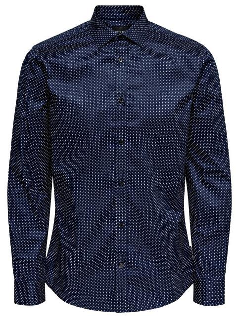 ONLY&SONS Pentru bărbați cămașă ONSALVES LS 2-PLY EASY camasii de fier AOP Dress Blue s S