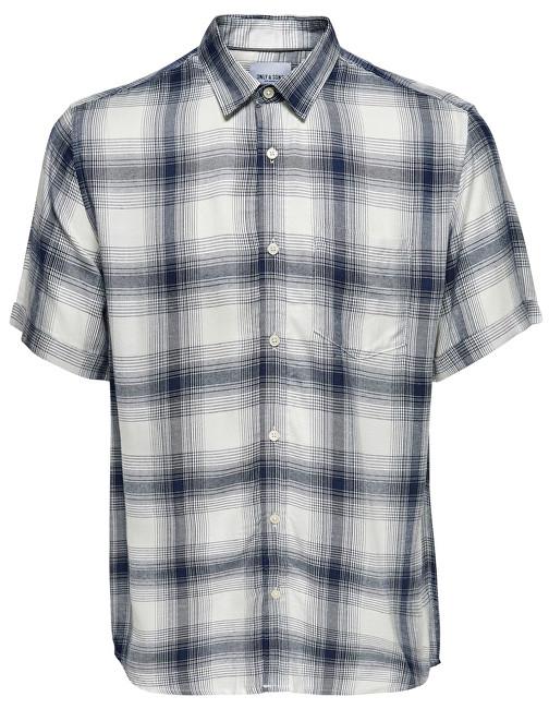 ONLY&SONS Cămașă pentru bărbați Samy Ss Reg Viscose Check Shirt Majolica Blue L