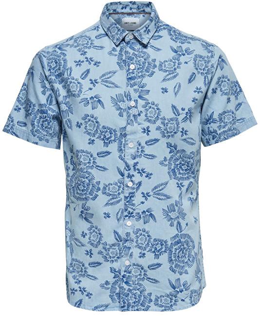 ONLY&SONS Cămăși pentru bărbați Tapor Ss Flower Aop Denim Shirt Dark Sapphire S