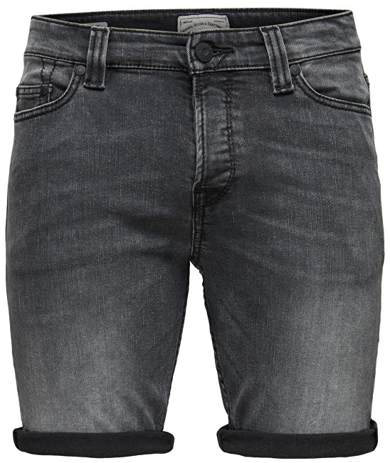ONLY&SONS Pánske kraťasy Ply Shorts Dark Grey Cr 8604 Grey Denim 31