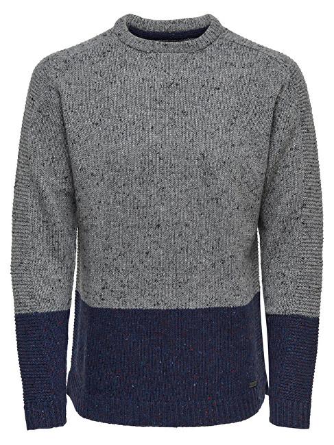 ONLY&SONS Men pulovere Bole Naps Knit Medium Grey Melange XL