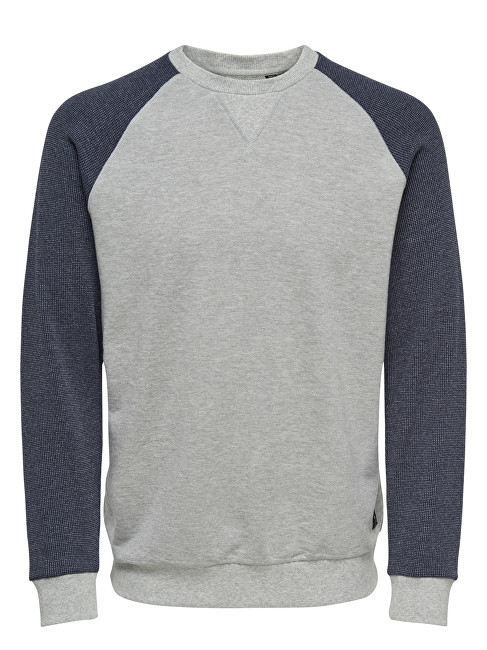 ONLY&SONS Bluză bărbătească Raglan Structure Sweat Light Grey M