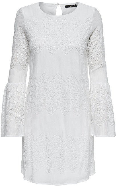 ONLY Dámské šaty Bella New Lace L/S Dress Wvn Cloud Dancer 40