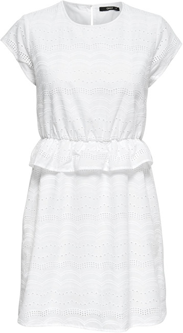 ONLY Dámské šaty Silvija Capsleeve Anglais Dress Wvn Bright White 40