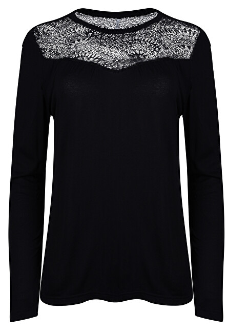 ONLY Dámske tričko Kirsty LS Mix Top Box Jrs Black Lace XS