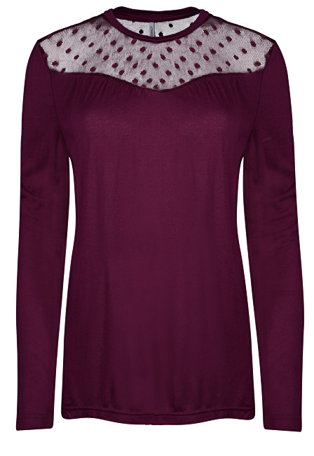 ONLY Dámske tričko Kirsty LS Mix Top Box Jrs Purple Potion Dots XS