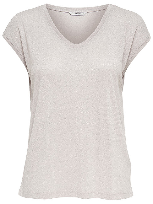 ONLY Tricou pentru femei Silvery S/S V Neck Lurex Top Jrs Noos Sepia Rose XS
