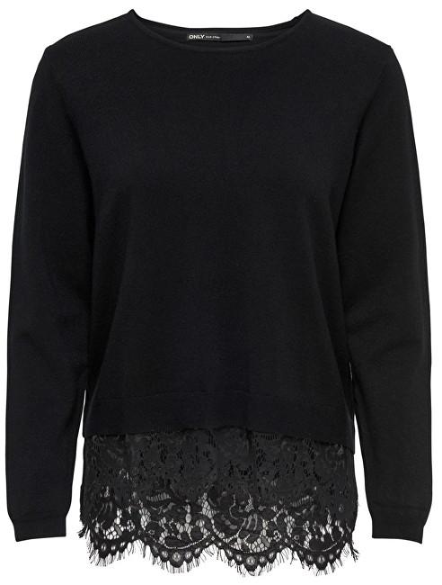 ONLY Pulovere pentru femei Cilla L/S Lace Mix Pullover Knit Black W.Dtm Lace XS