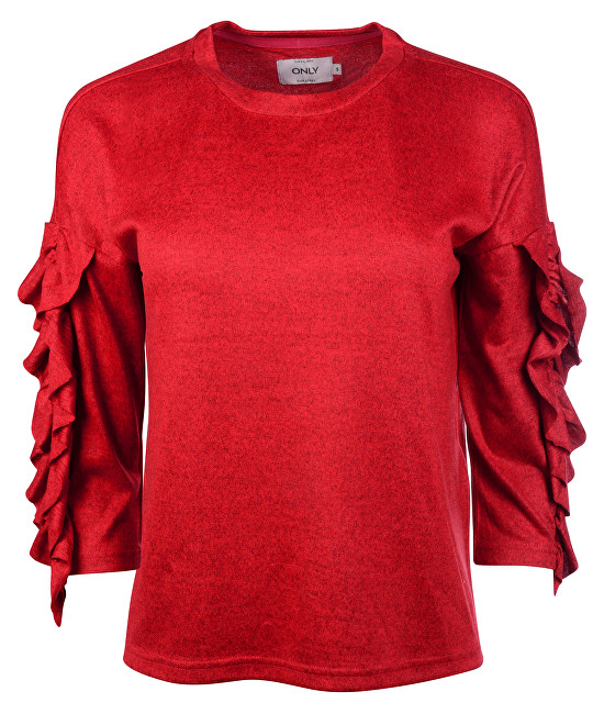 ONLY Doamnelor pulover  Ida Spring 3/4 Ruffle Pullover Knt Flame Scarlet S
