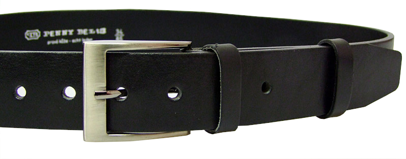 Penny Belts Pánsky kožený opasok 22-60 Čierny 110 cm