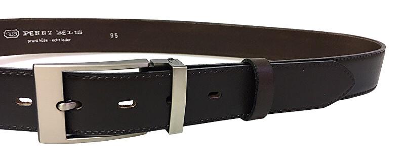 Penny Belts Pánsky kožený spoločenský opasok 35-020-19-40 Tmavo Hnedý 115 cm