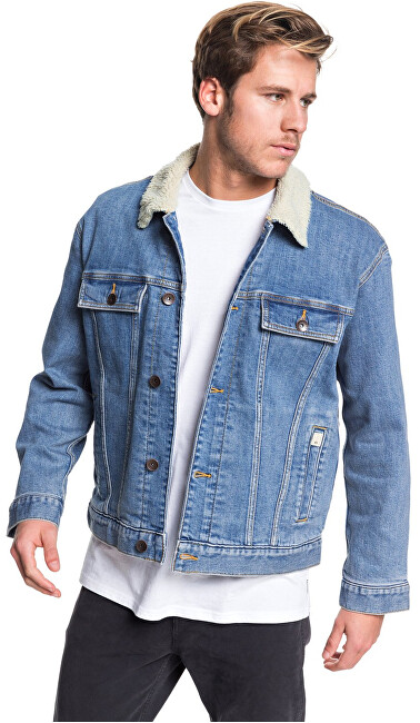 Quiksilver Pánska bunda Denim Jacket Sherpa Blue Used EQYJK03509-BYLW XL