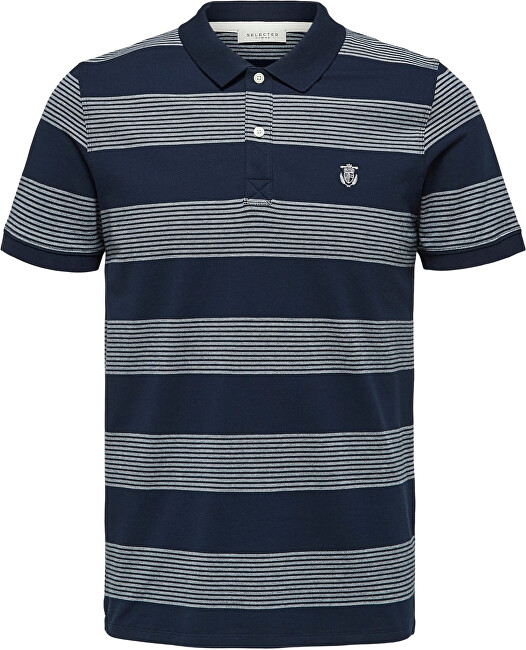 SELECTED HOMME Pánské polo triko SLHARO EXCLUSIVE SS POLO W Dark Sapphire Twisted Egret XXL