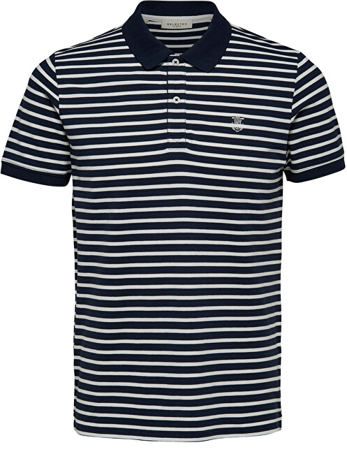 SELECTED HOMME Pánské polo triko SLHARO STRIPE SS EMBROIDERY POLO W Dark Sapphire Egret XXL