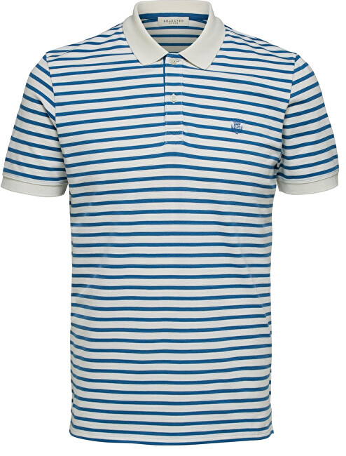 SELECTED HOMME Pánské polo triko SLHARO STRIPE SS EMBROIDERY POLO W Egret Vallarta Blue XXL