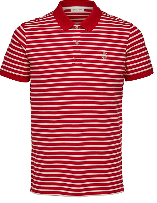 SELECTED HOMME Pánské polo triko SLHARO STRIPE SS EMBROIDERY POLO W Goji Berry Egret XXL
