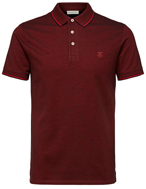 SELECTED HOMME Pánske polo triko Twist Ss Polo W Noos Red Dahlia M