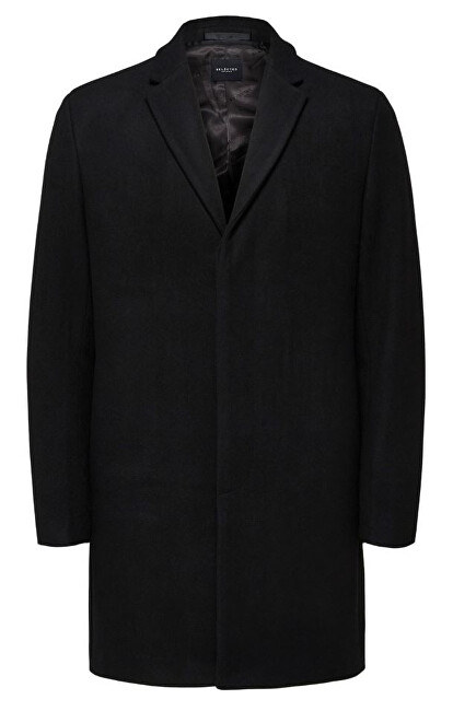 SELECTED HOMME Pánský kabát SLHBROVE WOOL COAT Black XL