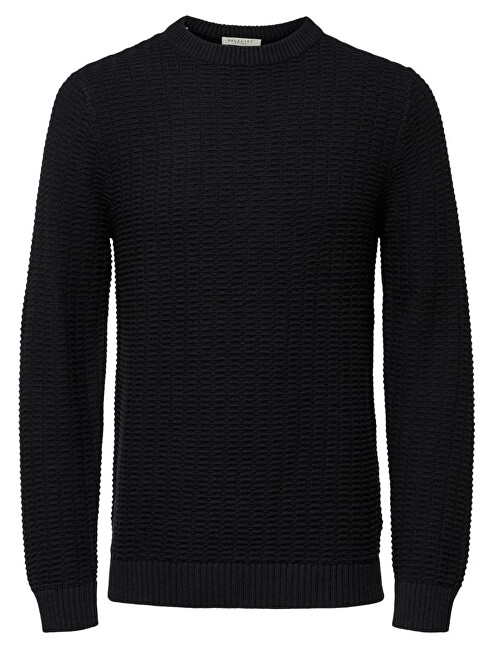 SELECTED HOMME Pánský svetr SLHROLF STRUCTURE CREW NECK W Black M