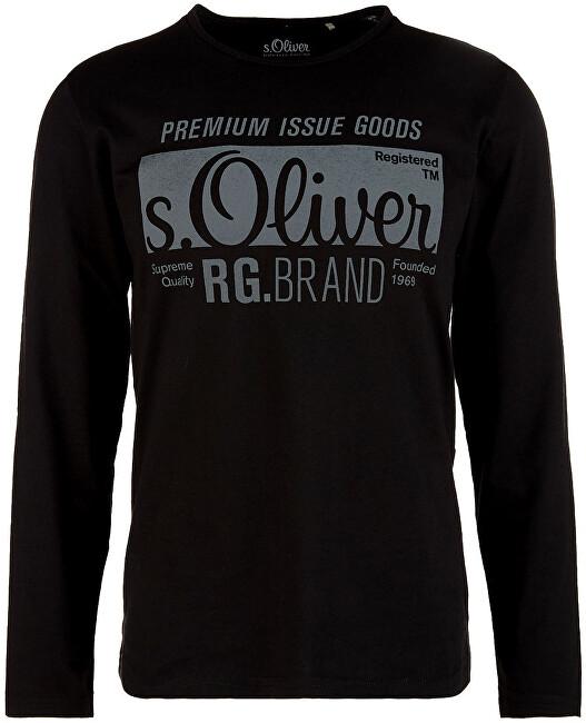 s.Oliver Pánske tričko s dlhým rukávom 13.910.31.5206. 9999 Black S