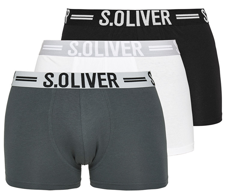 s.Oliver Set de boxeri pentru bărbați 26.899.97.4229.12B9 Black&Grey&White S