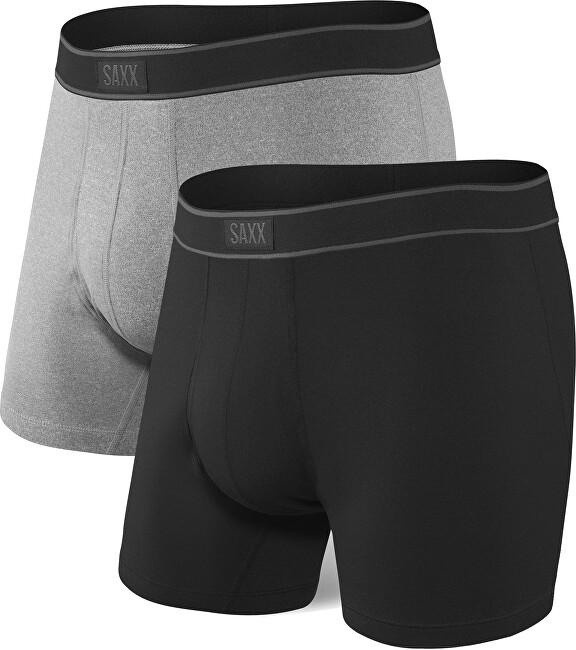 SAXX Férfi boxeralsó szett DAYTRIPPER BB FLY 2 PK black/graphite heather XL