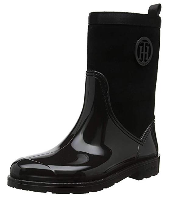 Tommy Hilfiger Cizme pentru femei Warmlined Suede Rain Black FW0FW03976-990 40