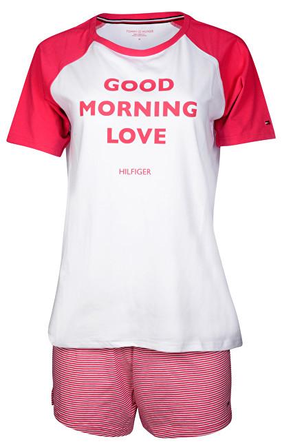Tommy Hilfiger Dámske pyžamo Cotton Iconic Set Ss Slogan UW0UW00371-105 White/Raspberry Wine L