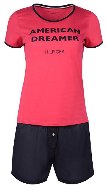 Tommy Hilfiger Dámske pyžamo Ss Woven Boxer Set Čerešne Jubilee / Navy Blaze r UW0UW00677-087 M