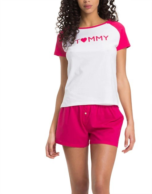Tommy Hilfiger Doamne Pijamale Valentine Ctn&Cotton Iconic Set Ss Love Woven Boxer White/Rapsberry UW0UW01346-103 L