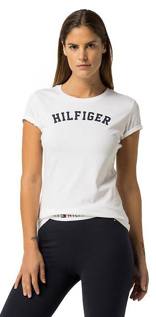 Tommy Hilfiger Tricou de damă Cotton Icon ic Logo SS Tee Print UW0UW00091 -100 White XS
