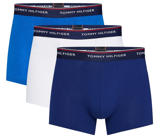 Tommy Hilfiger Boxeri pentru bărbați 3P Trunk 1U87903842 -0WS Blue Depth s / Lapis Blue / White L