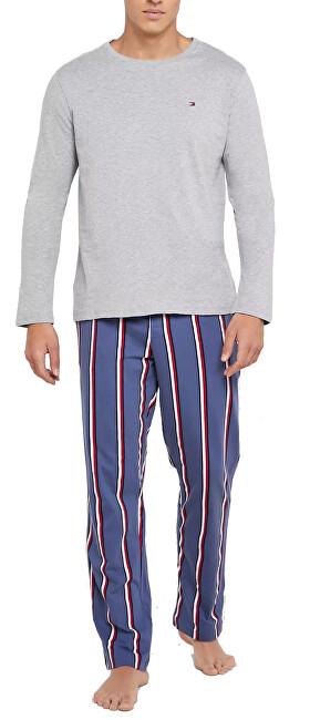 Tommy Hilfiger Pijamale pentru bărbați Cn Ls Pant Jersey Stripe Set UM0UM01603-032 Grey Heather / Blue Indigo XL