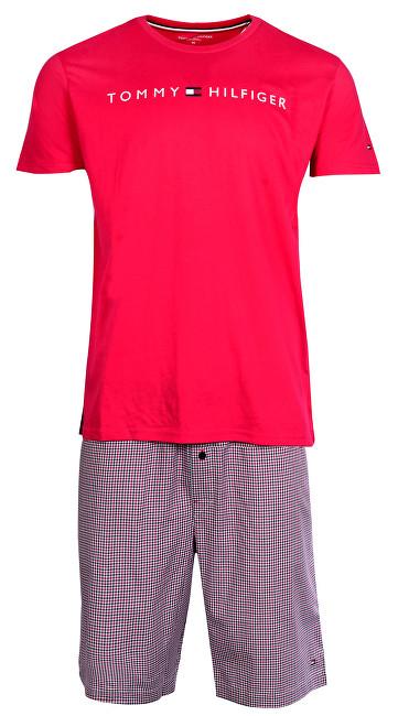 Tommy Hilfiger Pánske pyžamo Wowen Set Ss Gingham Tango Red/Tango Red UM0UM00696-099 M