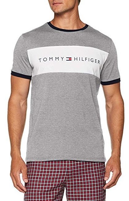 Tommy Hilfiger Pánské triko Cotton Icon Rn Tee Ss Logo Grey Heather  UM0UM00963-004 L b3f6ac9257a