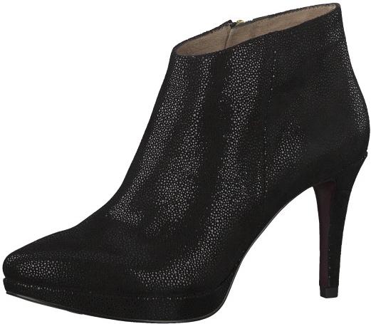 Tamaris Elegantné dámske členkové topánky 1-1-25305-29-030 Blk Str.Suede 36