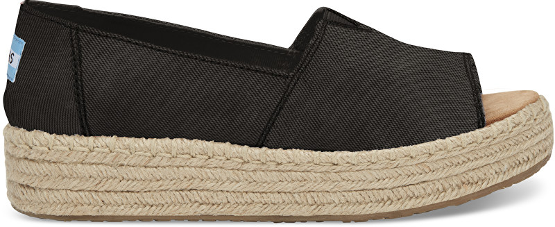 TOMS Dámske čierne sandále na platforme Black Washed Canvas Open Toe Platform Alpargata s 40