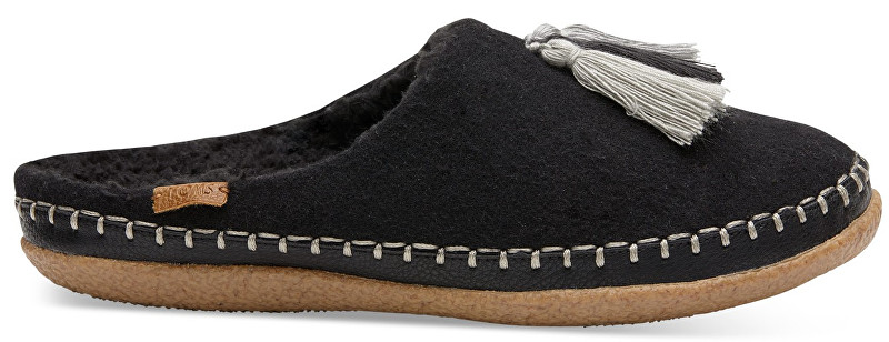 TOMS Dámske čierne šľapky Blk Wool/Tassels Ivy 37,5