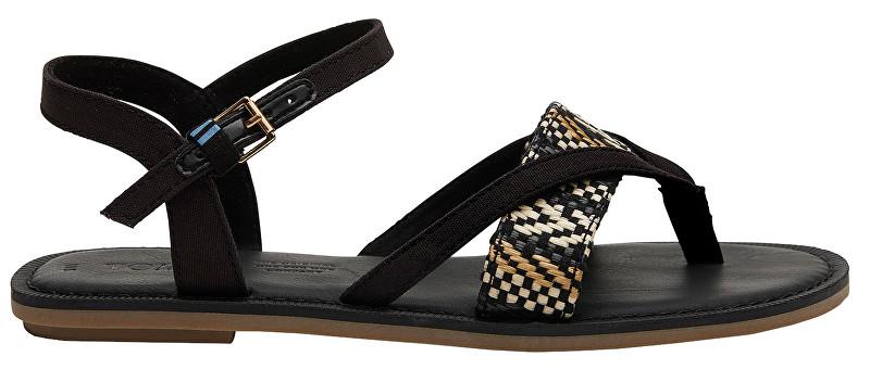 TOMS Sandale pentru femei Black Canvas/Geometric Woven Lexie 39