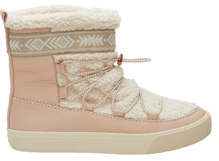 TOMS Dámske snehule Dark Blush Leather-Faux Shearling 37