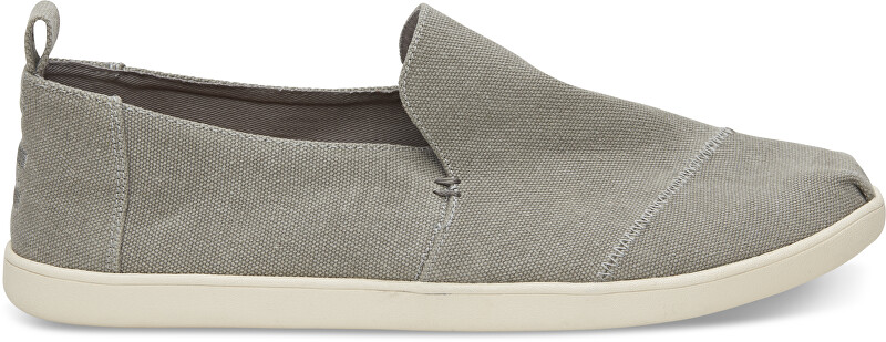 TOMS Pánske šedé Slip-On Drizzle Grey Washed Canvas Deconstr. Alpargatas 44