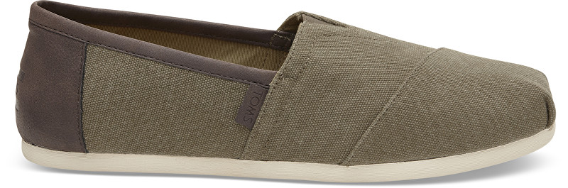 TOMS Pánske olivové Slip-On Olive Washed Canvas Seasonal Classics Alpargatas 45