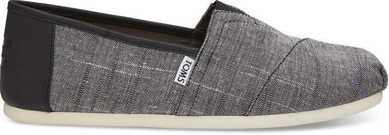TOMS Pánske Slip-On Black Textured Chambray-Trim Alpargata 42