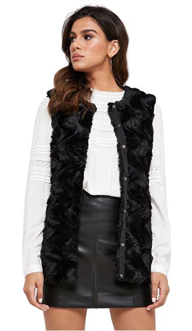 Vero Moda Vestă de femei VMCURL FAUX FUR WAISTCOAT Black XS