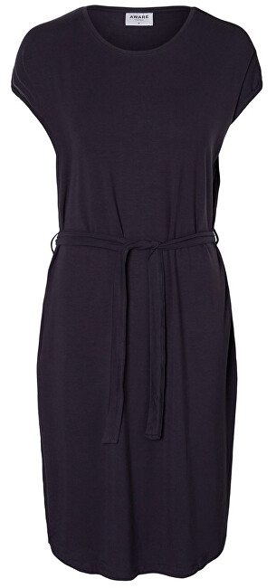 Vero Moda Dámske šaty Ava Plain Ss Knee Dress Vma Night Sky XS