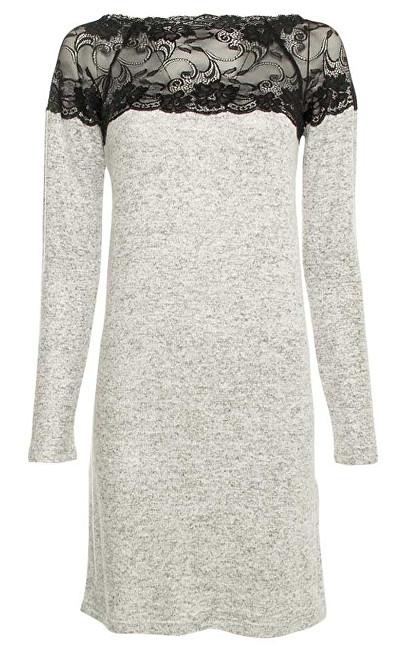 Vero Moda Dámske šaty Cima Lace Ls Dress Light Grey Melange W. Black Lace XS 32b15d939b